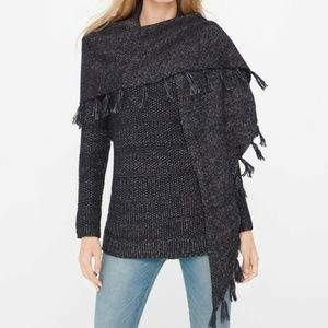 WHBM | Convertible Sweater Scarf Poncho Blue